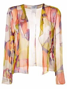 Chanel Pre-Owned abstract print sheer blouse - Yellow