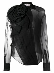 Christian Dior Pre-Owned draped design sheer blouse - Black