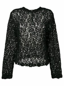 Comme Des Garçons Pre-Owned crochet long sleeved blouse - Black