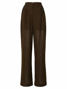 Chanel Pre-Owned semi-sheer wide leg trousers - Brown