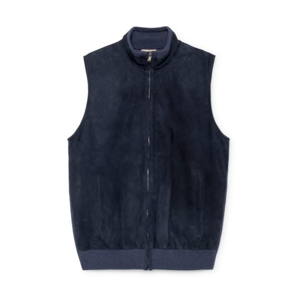 Hackett Suede Front Merino Wool And Cashmere Gilet