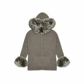 Dom Goor Charcoal Fur-trimmed Cashmere Cardigan
