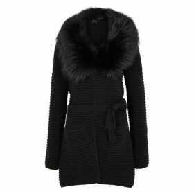 Dom Goor Black Fur-trimmed Wool-blend Cardigan