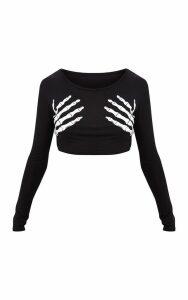 Bellatrix Black Glow In The Dark Skeleton Hand Crop Top, Black