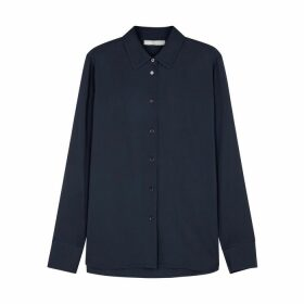 Vince Navy Stretch-silk Shirt