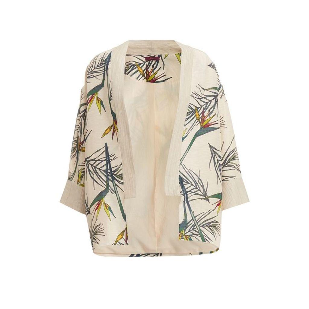 WtR Cardo Cream Linen Tropical Print Kimono Jacket
