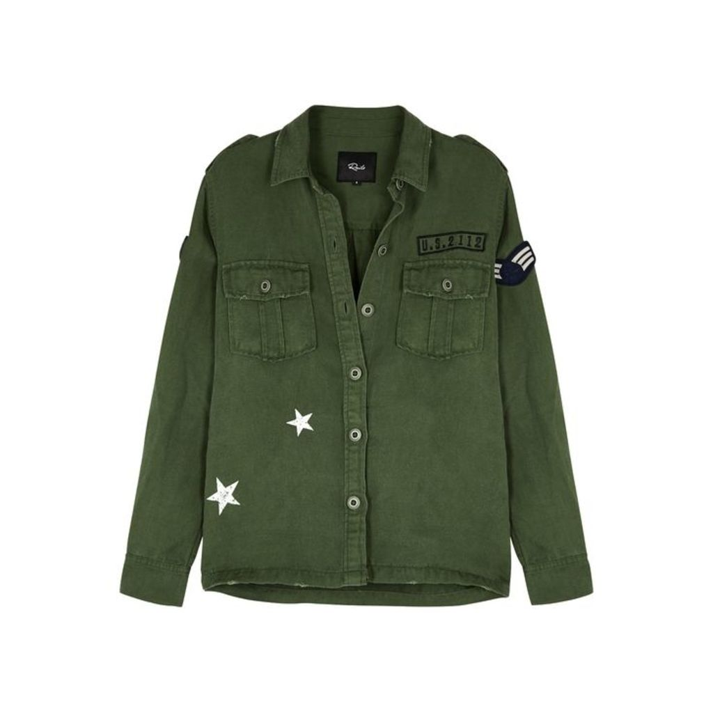 Rails Kato Green Appliquéd Twill Jacket