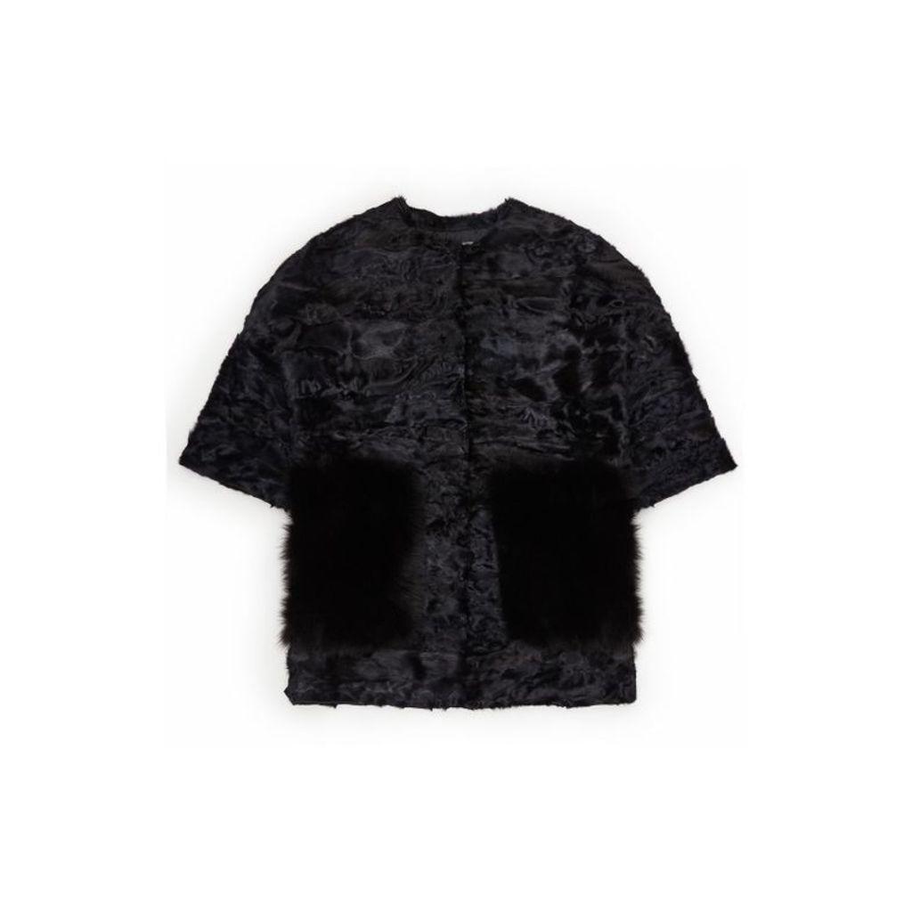 Lilly E Violetta Elika Black Astrakhan Jacket With Fox Fur Pockets