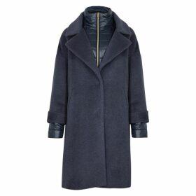 Herno Blue Shell-trimmed Wool-blend Coat