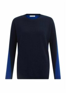 Megan Wool Cashmere Sweater Navy Cobalt