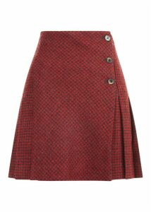 Holly Wool Skirt Red Charcoal