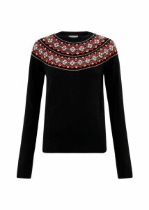 Georgina Merino Wool Blend Sweater Black Multi