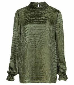 Reiss Alisson - Burnout Snake Pattern Blouse in Khaki, Womens, Size 14