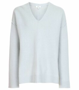 Reiss Serafina - Wool Cashmere Blend Jumper in Pale Blue, Womens, Size XXL