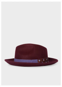 Women's Burgundy Fedora Hat With 'Eclipse Spot' Headband