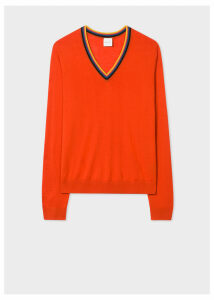 Women's Orange 'Artist Stripe' V-Neck Wool Sweater