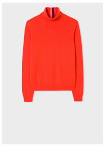 Women's Poppy Red Cashmere Roll-Neck Sweater