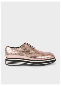 Women's Metallic Gold Leather 'Grand' Brogues With Striped Soles