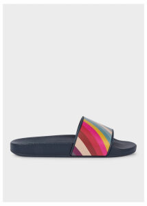 Women's Navy 'Rubina' Slides With 'Swirl' Detail