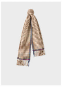 Women's Brown Check Double-Sided Wool Scarf