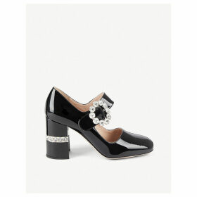 Crystal-embellished patent leather Mary Janes