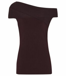 Reiss Indigo - Knitted Bardot Top in Berry, Womens, Size XXL