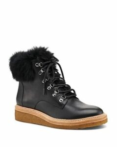 Botkier Women's Winter Leather & Rabbit Fur Lace Up Boots