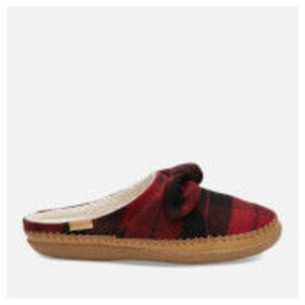 TOMS Women's Plaid Felt Bow Slippers - Red - UK 4 - Red