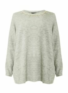 Womens **Dp Curve Grey Embellished Neck Jumper- Grey, Grey