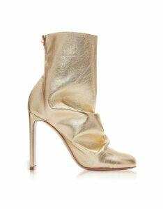 Nicholas Kirkwood Designer Shoes, Light Gold Metallic Nappa 105mm D'Arcy Ankle Boots