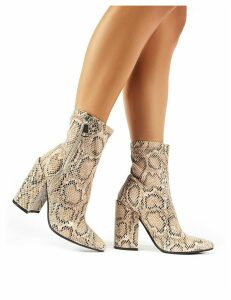 Renzo Sock Fit Ankle Boots in Snake Print, Black