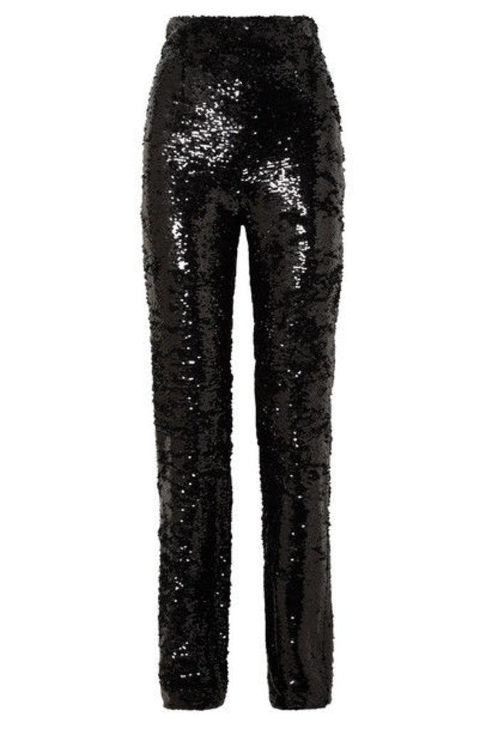 16ARLINGTON - Sequined Crepe Straight-leg Pants - Black