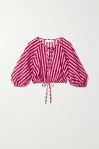 Prada - Gathered Neon Silk-satin Blouse - Green