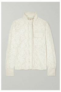 Chloé - Ruffled Silk-trimmed Cotton-blend Lace Blouse - Cream