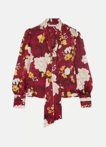 Alice + Olivia - Crogan Floral-print Hammered Silk-satin Blouse - Burgundy