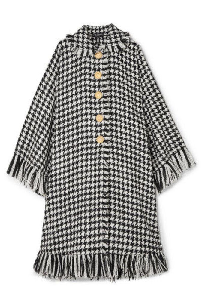 Dolce & Gabbana - Oversized Fringed Houndstooth Wool-blend Cape - Black