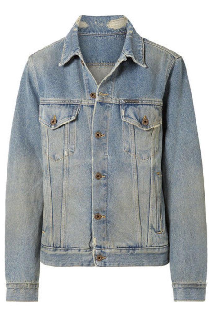 Off-White - Printed Distressed Denim Jacket - Blue