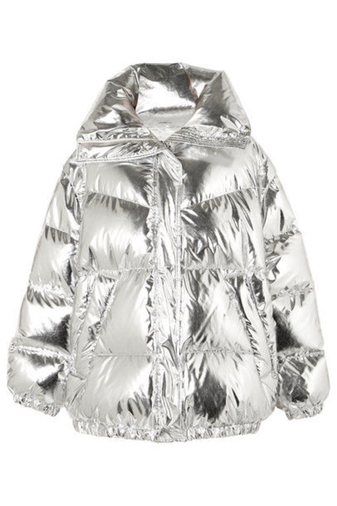 MM6 Maison Margiela - Oversized Quilted Metallic Shell Down Jacket - Silver