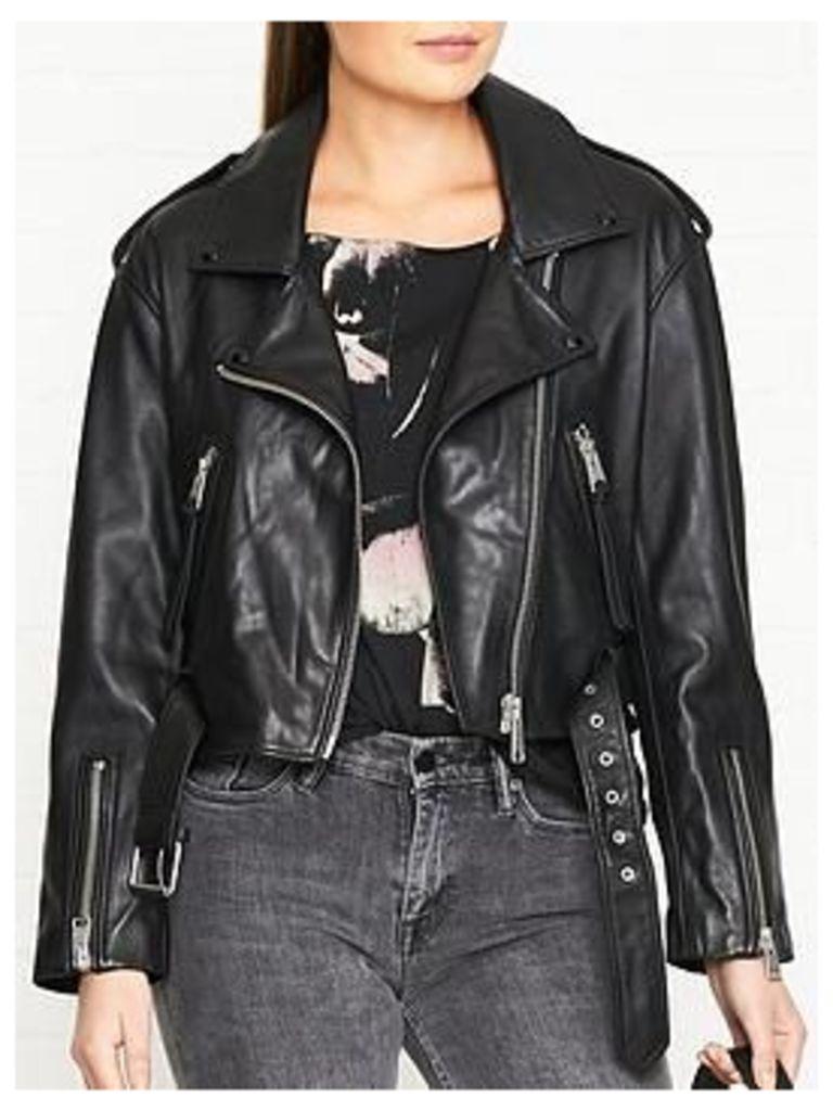 Allsaints Anderson Leather Biker Jacket - Black, Size M