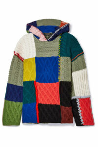 Burberry - Hooded Patchwork Wool-blend Sweater - Blue