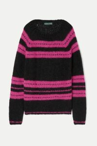 ALEXACHUNG - Striped Mohair-blend Sweater - Black