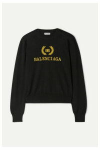 Balenciaga - Embroidered Wool Sweater - Black
