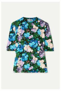 Balenciaga - Floral-print Stretch-jersey Top - Blue