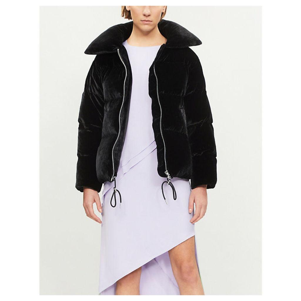 Padded velvet down jacket