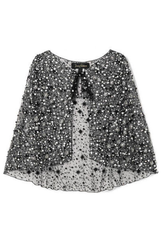 Jenny Packham - Vela Embellished Tulle Cape - Black