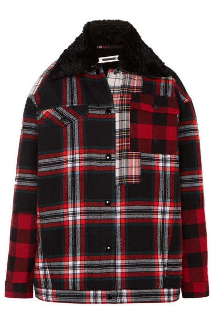 McQ Alexander McQueen - Oversized Faux Fur-lined Tartan Cotton-twill Jacket - Red