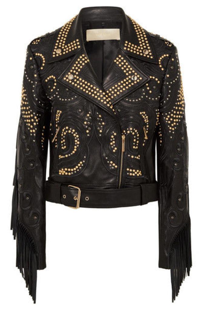 Elie Saab - Studded Fringed Leather Biker Jacket - Black