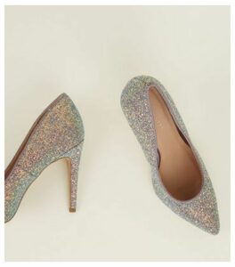 Lilac Glitter Pointed Court Shoes New Look