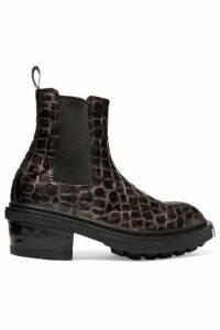 Eytys - Nikita Croc-effect Leather Ankle Boots - Dark gray