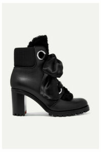 Christian Louboutin - Jenny From The Alps 70 Shearling And Leather Ankle Boots - Black